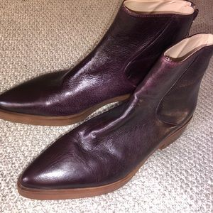 Zara genuine leather pointy toe ankle boots